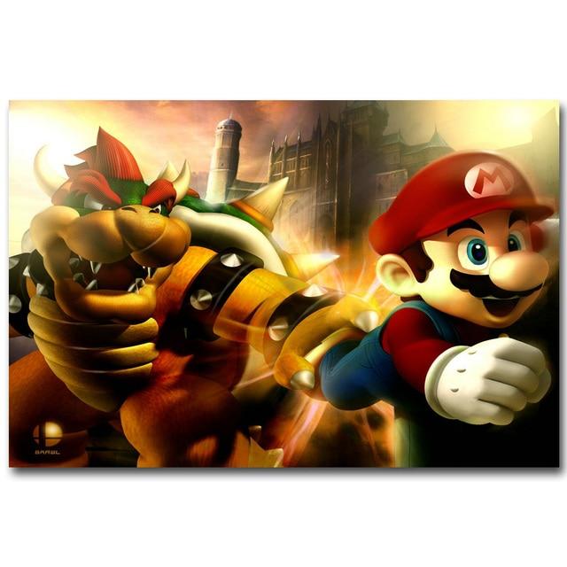 Bowser Super Mario Bros Art Silk Fabric Poster Print 13x20 ...