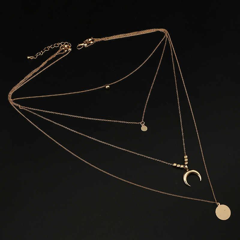 Złoty kolor łańcuszek naszyjniki dla kobiet długi łańcuszek z księżycem naszyjniki sznurowadła aksamitna biżuteria