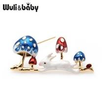 Wuli&baby Enamel White Rabbit Running in Big Blue Mushroom Brooch Pins Fashion Jewelry Gift 2019