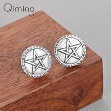 Round Star Earrings Boho Vintage Silver Ethnic Jewelry Arabic Turkey Gold Vikings Stud Korean Women Earrings(China)