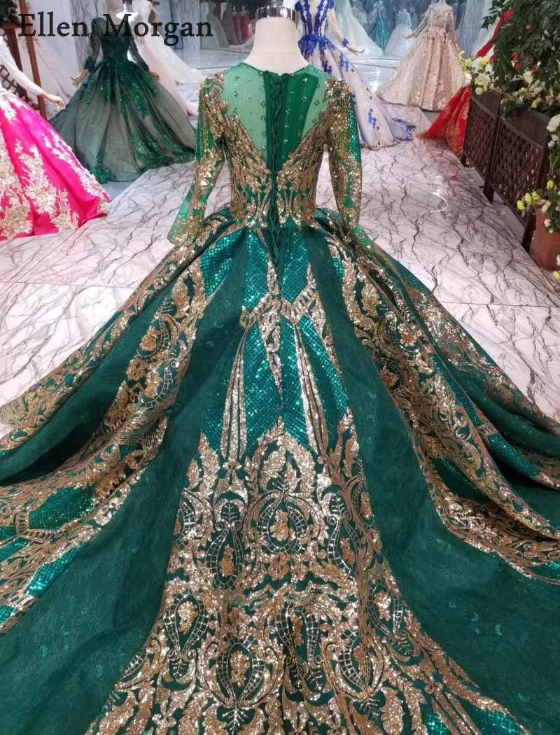c39b97c5ab6ef Colorful Dark Green Lace Ball Gowns Wedding Dresses 2019 Gold Lace ...