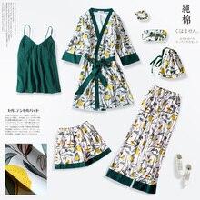 2019 Spring Summer Pyjamas Women Home Wear Sexy Faux Silk 7 Pieces Pajama Set Female Night Sleep Wear Suit Casual Sleepwear
