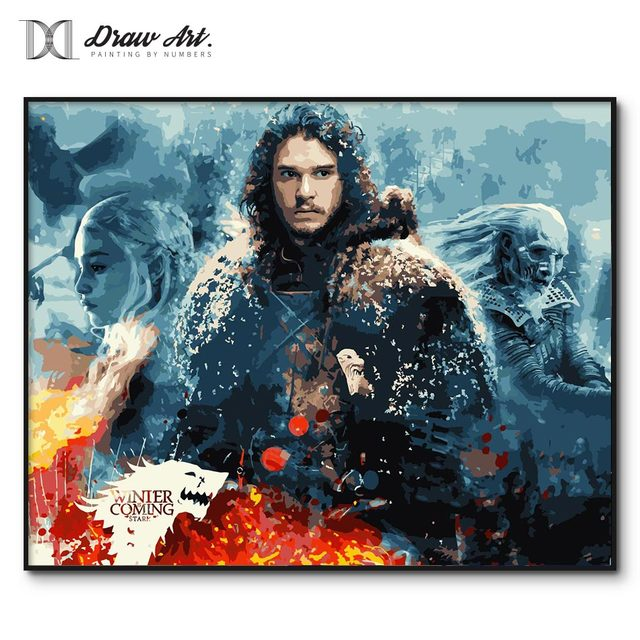 Game of Thrones painting by numbers Framed picture oil painting by numbers wall decor actylic paint by number kits Jon Snow