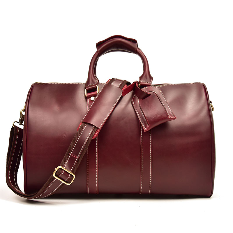 Women Genuine Leather Travel Bags Red 18