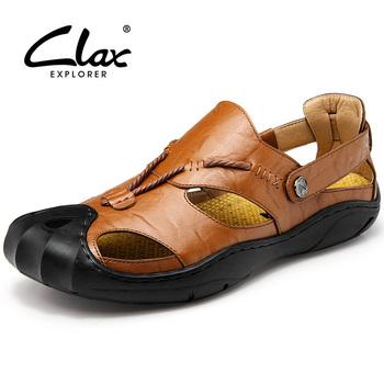 Clax męskie skórzane sandały Outdoor 2018 letnie ręcznie robione buty męskie oddychające obuwie codzienne Slip On Walking sandały tanie i dobre opinie Skóra Split Fisherman retro RUBBER Slip-on Med (3 cm-5 cm) Pasuje prawda na wymiar weź swój normalny rozmiar Na co dzień