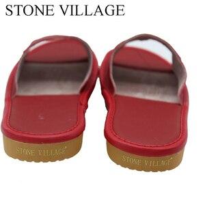 Image 4 - 스톤 빌리지 정품 가죽 신발 홈 슬리퍼 고품질 암소 가죽 실내 신발 남성과 여성 신발 여름 크기 35 45