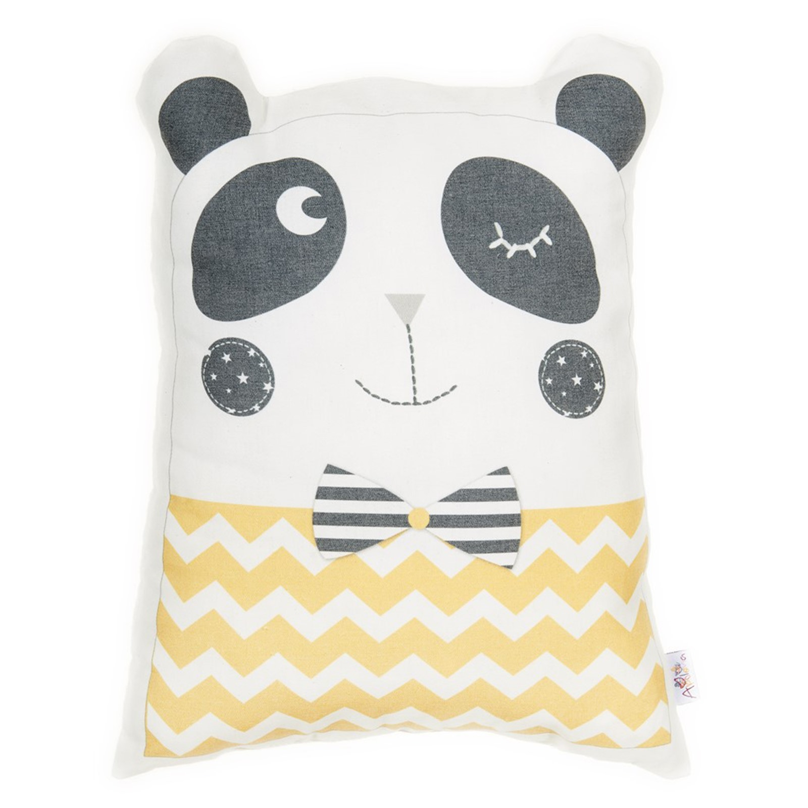 Ebebek Apolena Baby Panda Pillow Cute  Yellow Striped Printed For Baby Boys And Girls 33x28x10 Cm Approx