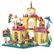 JG306 Princess Mermaid Beauty Ariel Undersea Palace Building Bricks Blocks Set Toy Compatible Lepine Friends 41063 for girl