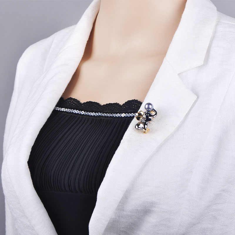 Blucome Terbaru Indah Dua Nada Warna Bentuk Gajah Simulasi Mutiara Bros untuk Wanita Anak Syal Sweater Tas Pin Perhiasan