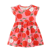 Baby Girls Summer Cartoon Apple Dress New Designed Short Sleeves Clothes Kids Fashion Princess Dresses