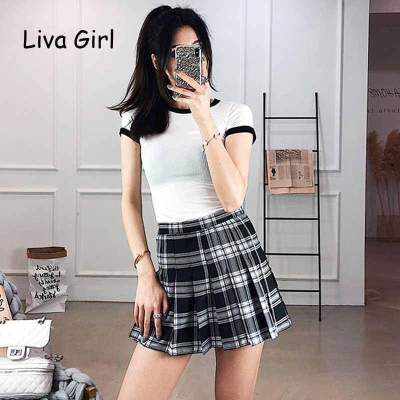 7050dc23ec53 Fashion Harajuku High Waist Short Pleated Skirts Women Preppy Style School  Uniforms Ladies kawaii Plaid Mini