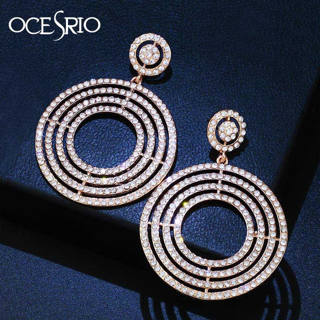 OCESRIO Crystal Gold Hoop Earrings for Women Rhinestones Large Big Earring  Hoops Wedding Earings Fashion Jewelry aretes ers-m26 f16494b46b7e