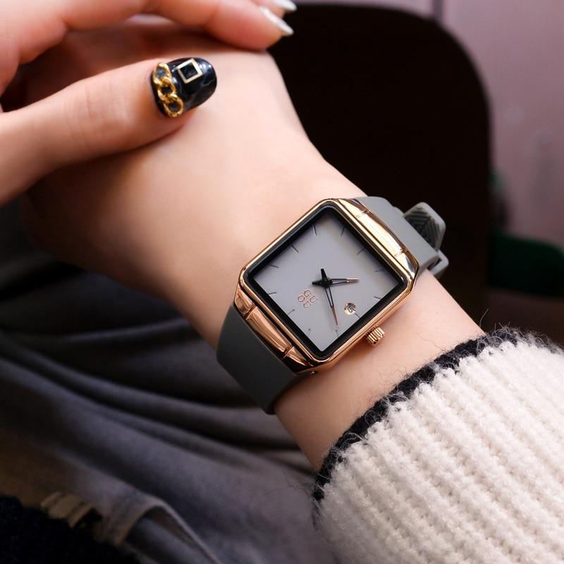 Fashion Luxury Brand Unisex Men Womens Watches Square Dial Silicone Strap Golden Case Lady Dress Quartz Watch Relogios Femininos