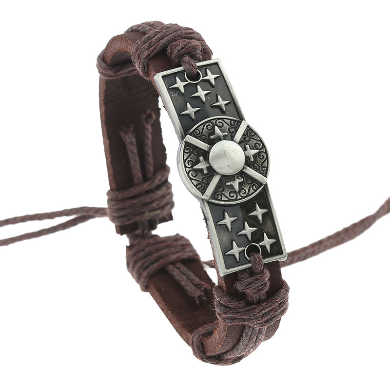 Aufrichtig Kreuz Casual Handarbeit Gewebt Vintage Bronze Charme Braun Echte Billig Leder Armbänder Männer Frauen Schmuck Großhandel Zubehör