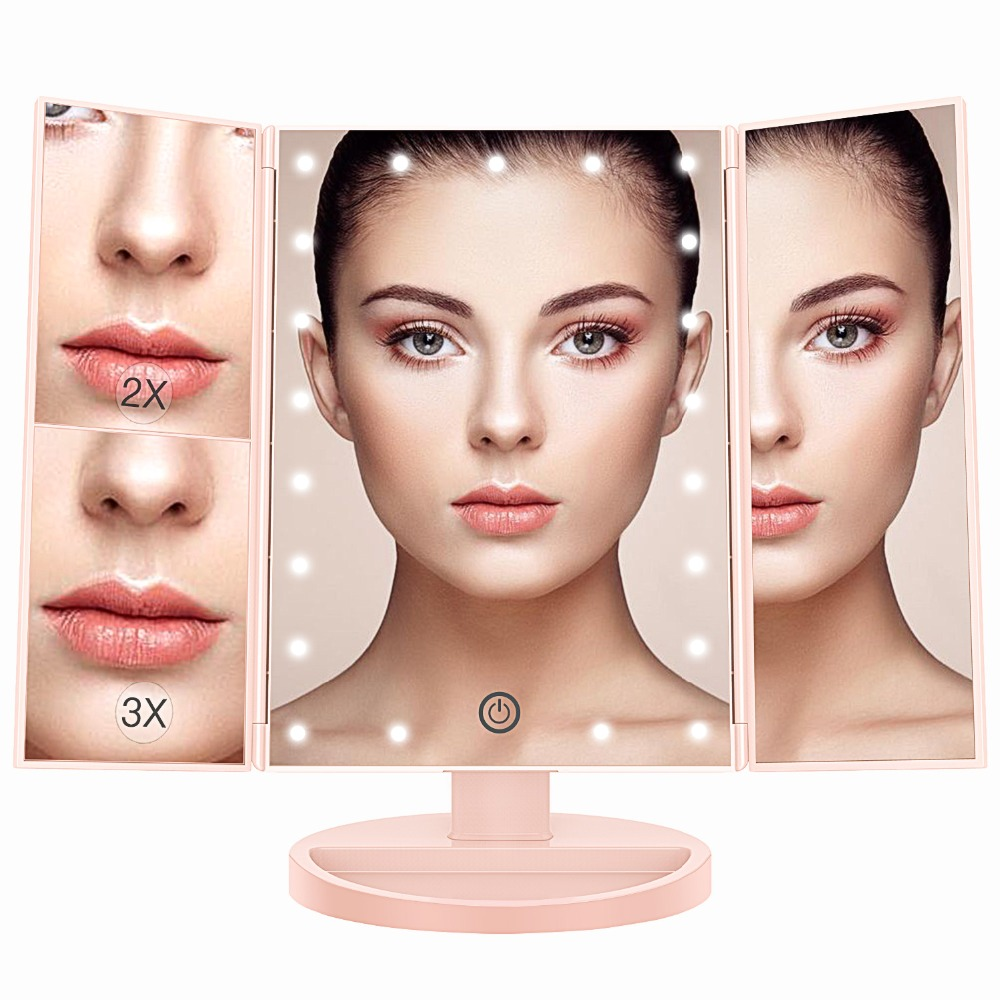 BESTOPE LED Makeup Mirror with Light Magnifying Standing Desktop Cosmetic Mirror Tri-fol ...