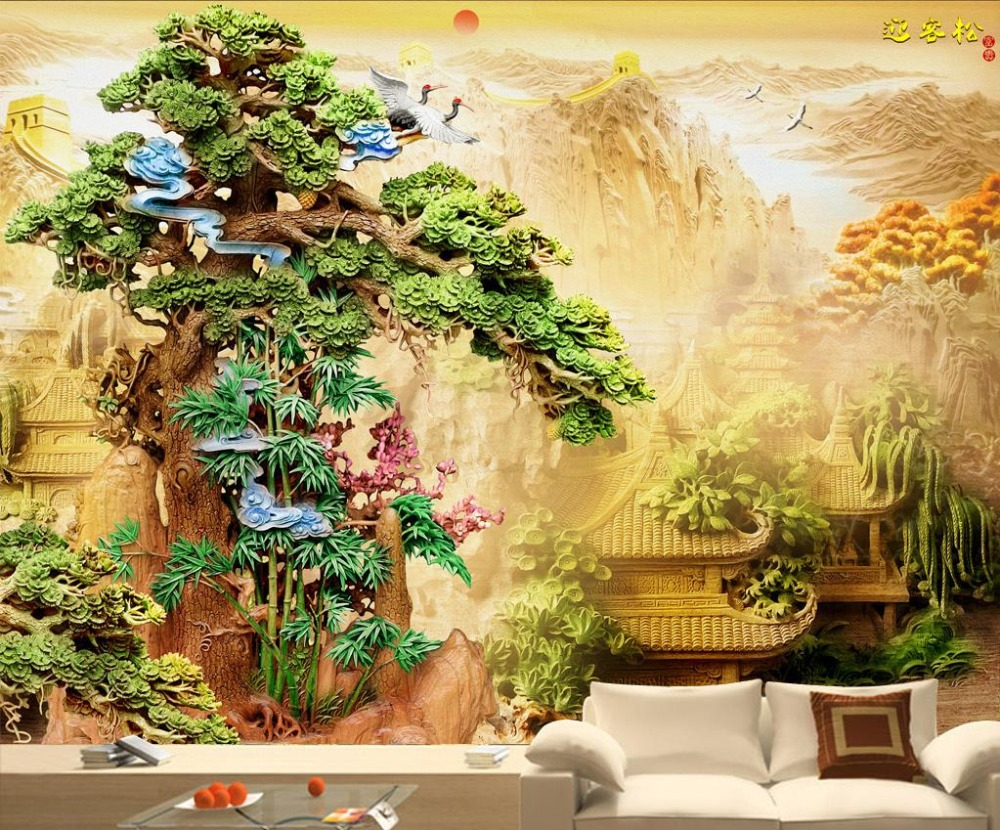 3D Quality Wood Carvings HD 3d Mural Wallpaper Welcoming pine three ...