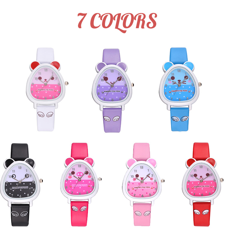 Fashion Hamster Shaped Dial Quartz Wrist Watch with PU Leather Strap Cute Cartoon Watches GM(China)