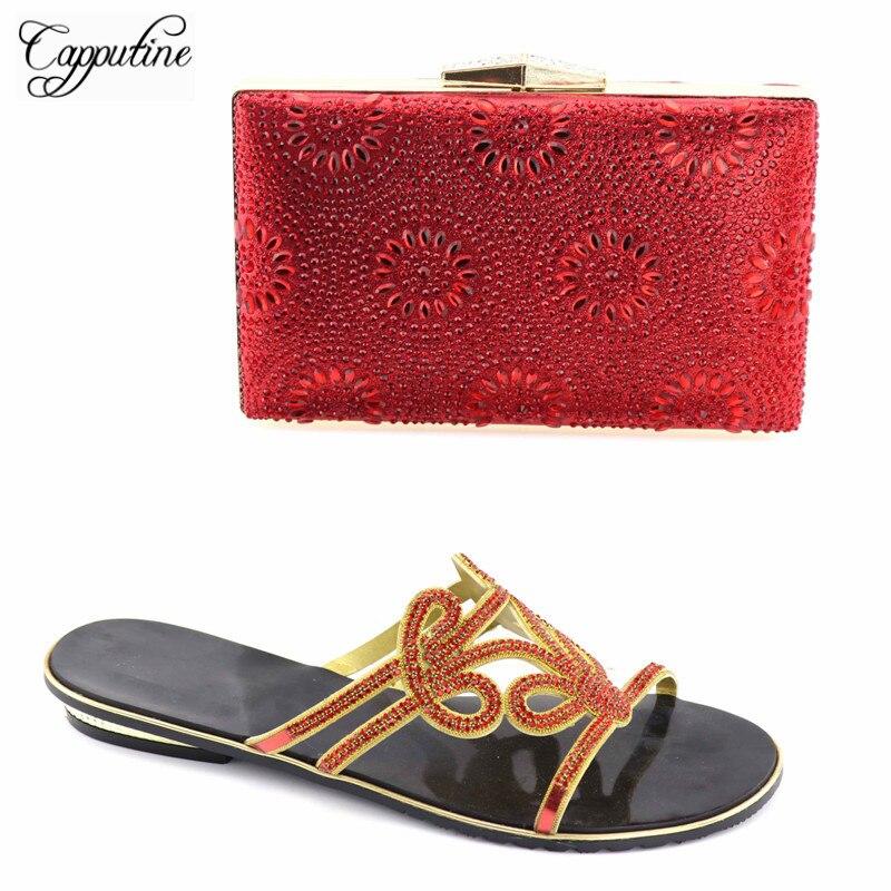 Capputine Style italien couleur rouge chaussures et sac pour les fêtes strass africain bas talons chaussure et sac ensemble pour femme TX-05