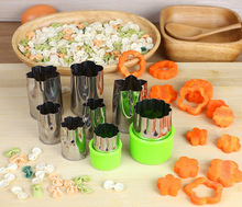 8pcs/set Vegetable Fruit Cutter Mold Flowers Cartoon Stainless Steel Cake Cookie Biscuit Cutting Shape Tool OK 0801