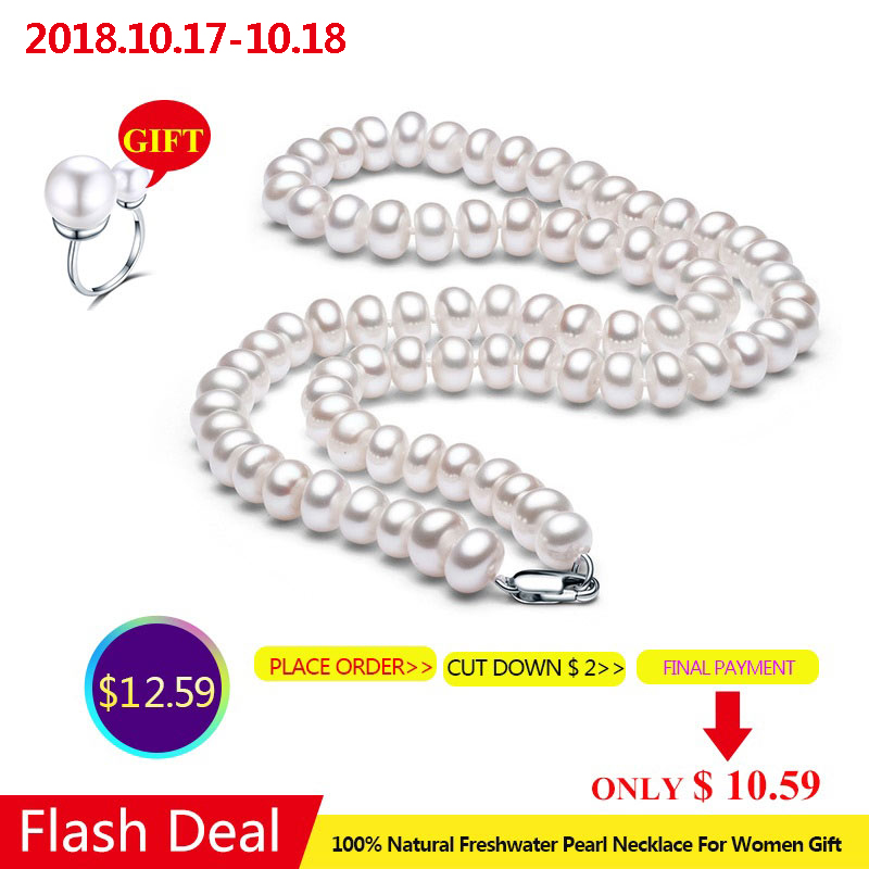 Blanc Naturel D'eau Douce Collier de Perles Pour Les Femmes 8-9mm Collier Perles Bijoux 40 cm/45 cm/50 cm Longueur Collier De Mode Bijoux