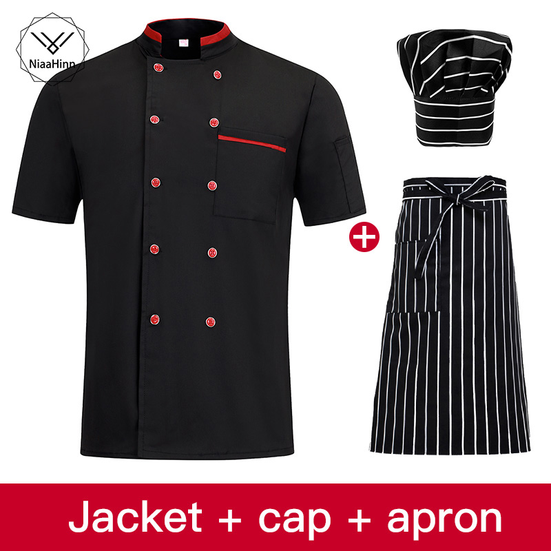 New Chef Jacket Hotel Restaurant Work Wear Double-breasted Mens Kitchen Chef Uniform Cook Clothes Food Services Frock Apron Hat