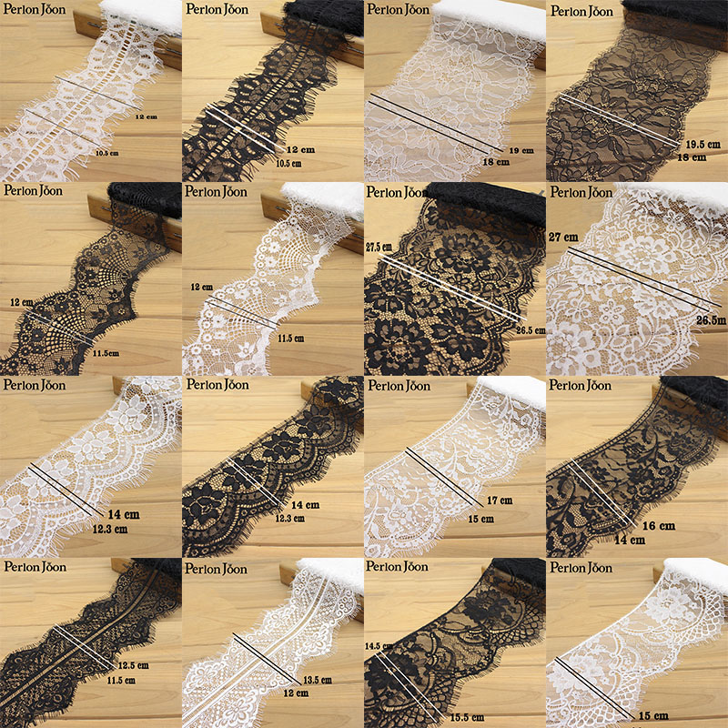 A variety of classic style eyelash lace black&white non-elastic wavy lace trim decoration sewing in clothes JM 001-015