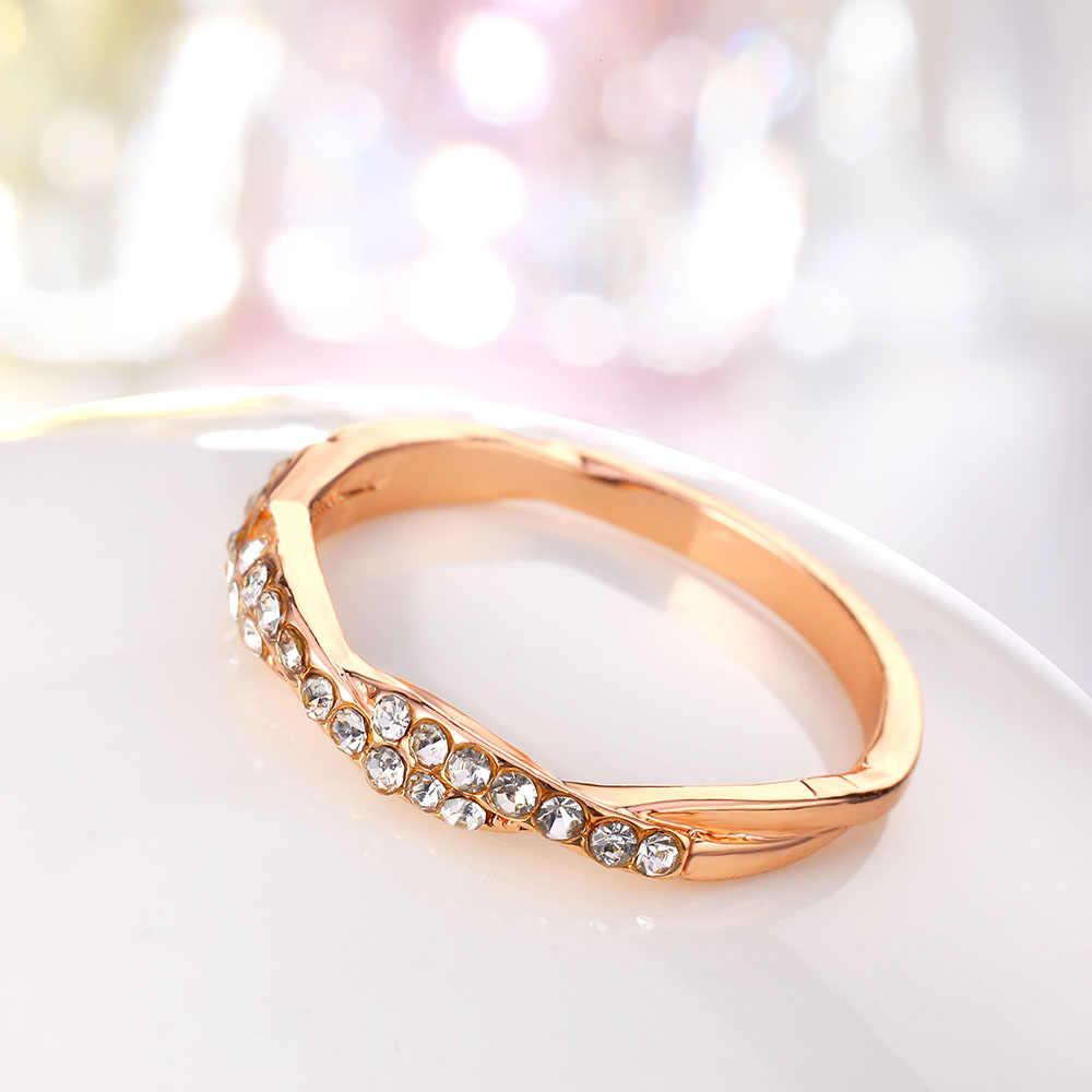 IPARAM نمط حبل مجدول أو مبروم القنب الزهور خاتم الذهب والفضة اللون مايكرو زركون الذيل خاتم موضة مجوهرات نسائية