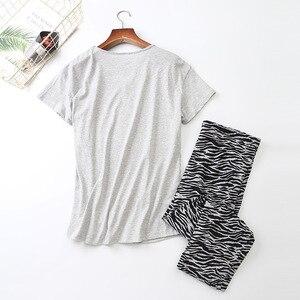 Image 2 - נשים שרוולים קצרים פיג מה כותנה זברה הדפסת הלבשת בתוספת גודל דק פיג Loungewear פיג מה Mujer S 3XL Ou קוד בגדים