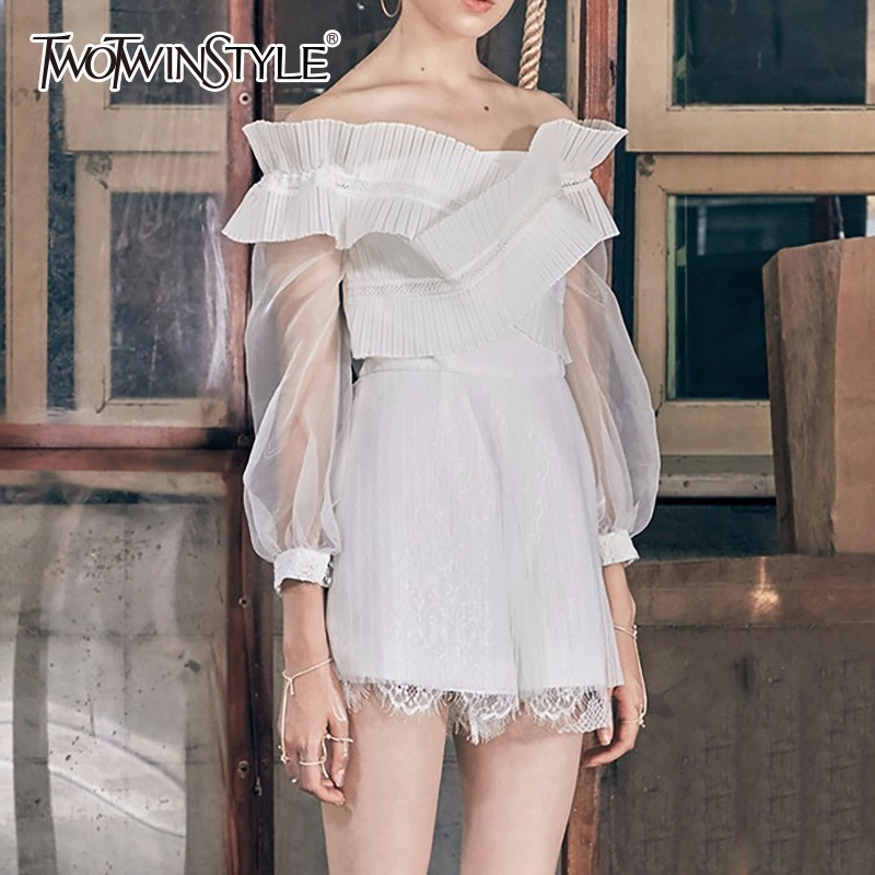 TWOTWINSTYLE Off Shoulder Playsuits Female Ruffles Patchwork Mesh High Waist Lace Mini Shorts Women Summer Sexy Sweet Clothing