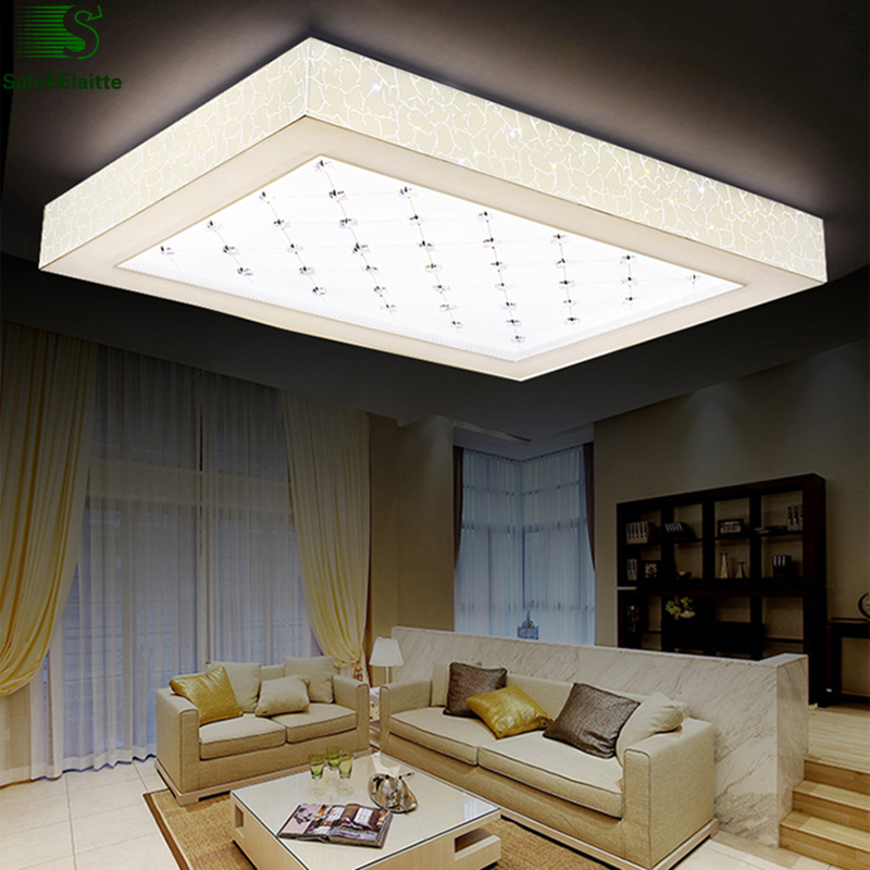 Nordic Minimalism Square Metal Led Ceiling Lights Lustre Crystal Acrylic Living Room Led Ceiling Lamp Bedroom Led Lighting Light noosion modern led ceiling lamp for bedroom room black and white color with crystal plafon techo iluminacion lustre de plafond