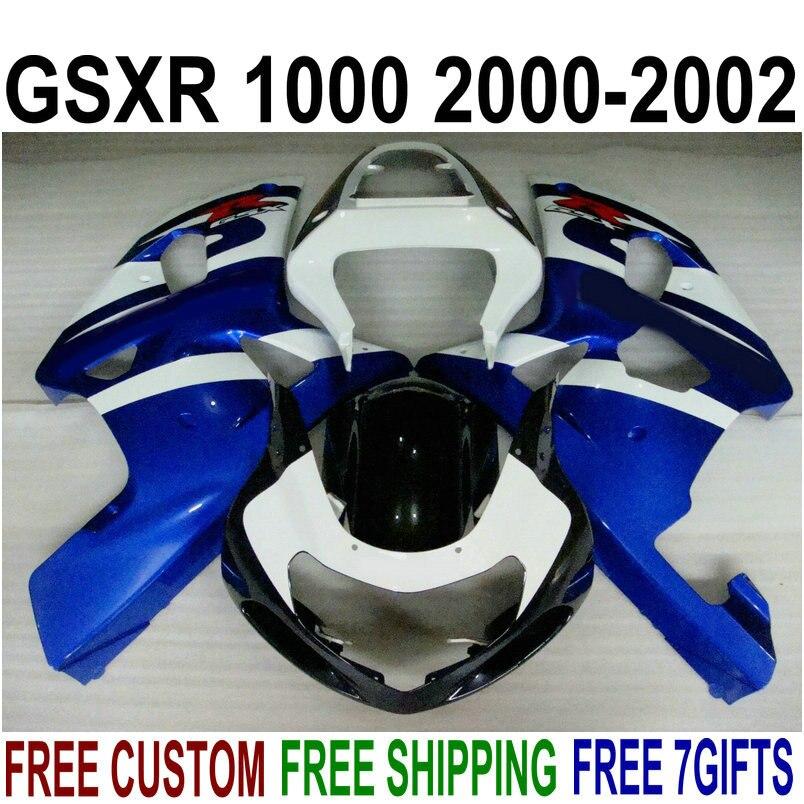 Carrosserie vente chaude carénages pour Suzuki gsxr1000 2000 2001 2002 bleu blanc noir carénages ensemble GSXR 1000 00 01 02 IV96