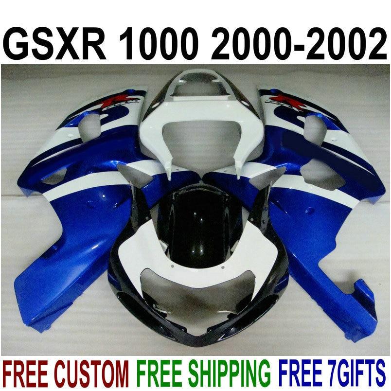 Carrozzeria vendita calda carenature per Suzuki gsxr1000 2000 2001 2002 blu bianco nero carene GSXR 1000 00 01 02 IV96