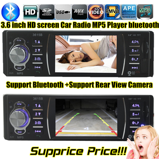 """1 DIN size Car MP5 Player 3.6"""" TFT screen Stereo FM Radios Players with USB/SD MMC Port AUXIN bluetooth for rear camera"""