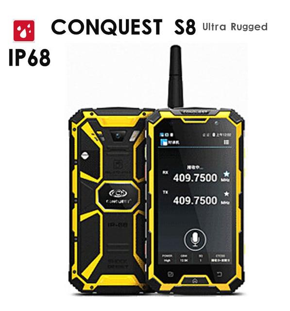"Original Conquest S8 6000mAH Battery Quad Core 5"" HD Android 3GB RAM ip68 Rugged waterproof phone GPS 4G LTE FDD Walkie talkie"