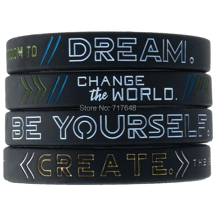 300PCS Be Yourself Change the World Create Dream Inspirational wristband silicone bracelets free shipping by FEDEX