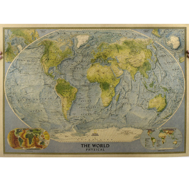725515cm Vintage Travel Antique English World Map Photo Painting Wallpaper Poster Kraft Paper