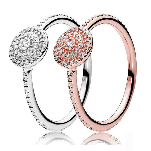 f5864dcc1 30% 925 Silver Rose Gold Radiant Elegance Rings With Crystal For Women  Wedding Party Gift Fine Europe Jewelry
