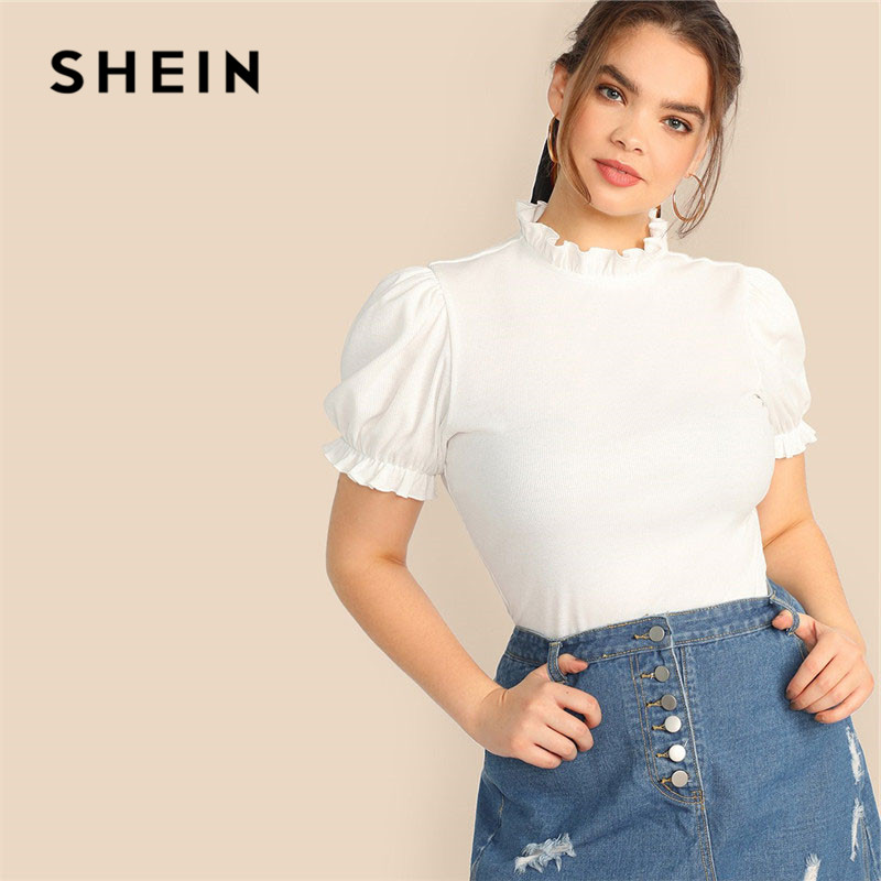 SHEIN Plus Size Lady Frilled Trim Neck Puff Sleeve Rib-Knit Beige T-Shirt Summer Elegant Short Sleeve Stand Collar Women Tshirt 1