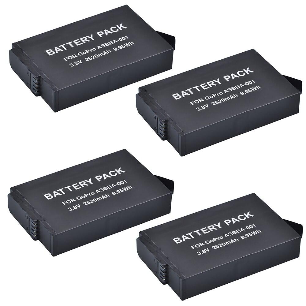 Batterie Tectra 2620 mAh 4 pièces pour batterie GoPro ASBBA-001 et caméra d'action Gopro Fusion 360 degrés.
