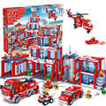 QWZ 1285Pcs Building Blocks Sets Extra Large Fire Station City DIY Assembled Brick Educational Toys for Kids Toys Hobbies Gift