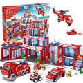 Qwz 1285 unids fija extra grande estación de bomberos de la ciudad de diy montado bloques de construcción de ladrillo juguetes educativos para niños juguetes aficiones regalo