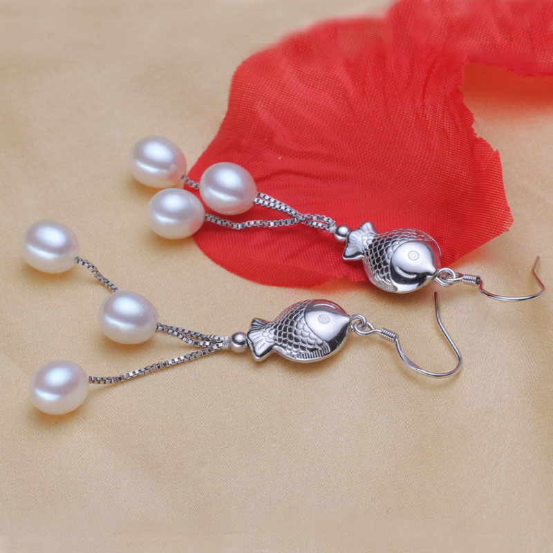 Women Gift word 925 Sterling silver real bright pearl Korean fashion models drop pearl font b
