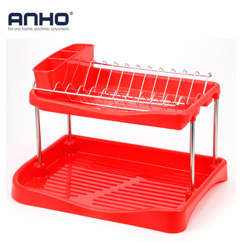 ANHO Kitchen Dish Rack Double Layer Kitchen Storage Shelf Plastic Bowls Cups Draining Holder Multifunctional Kitchen Accessories