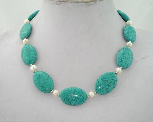 Venda Hot new Style >>>>> Genuine 8 MM White Pearl & Oval Turquesa Verde Colar de Contas