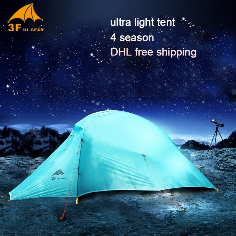 3f ul gear Outdoor Ultralight Camping Tent 15D silicone fabric 4 Season 2 Person Waterproof Lightweight Tent 995g camping inner tent ultralight 3 4 person outdoor 20d nylon sides silicon coating rodless pyramid large tent campin 3 season