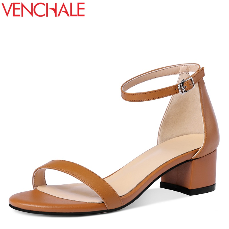 VENCHALE 2018 summer new fashion casual sandals cow leather ankle buckle strap hoof cover heel word buckle with open toe shoes venchale 2018 summer new fashion sandals wedges platform women shoes height heel 10 cm buckle strap casual cow leather sandals