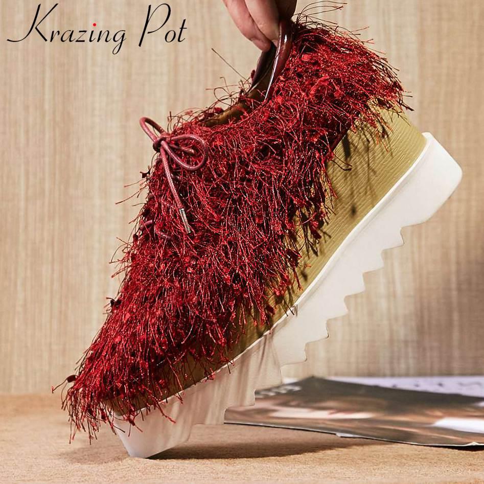 Ayakk.'ten Kadın Pompaları'de Krazing Pot yeni moda doğal deri klasik kare ayak püskül dekorasyon kaya kız punk muhtasar stil parti seyahat pompaları L18'da  Grup 1