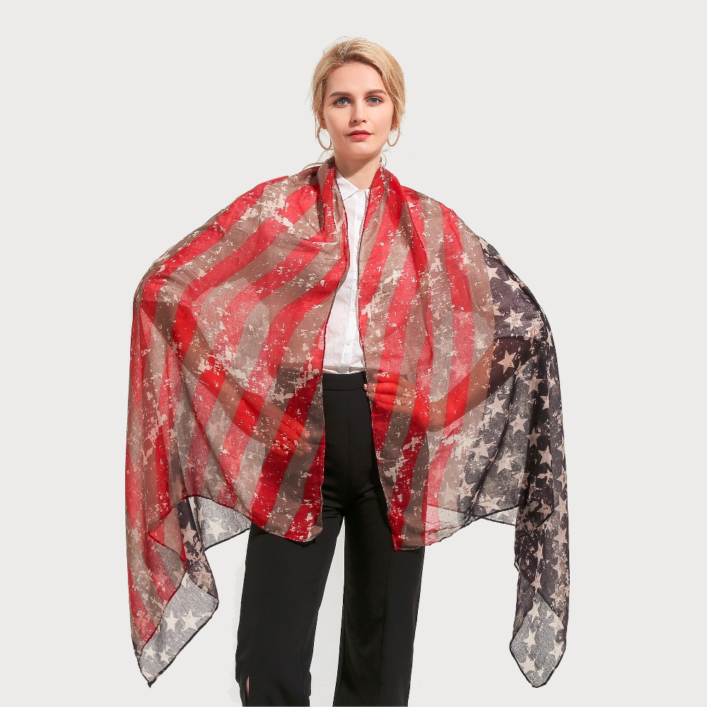 Winfox 2018 New Fashion Vintage Black Red Star Striped American Flag   Scarfs     Wraps   Pashmina For Womens Ladies