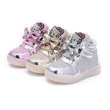 Mädchen shoes neue feder führte licht shoes kinder breathable turnschuhe mit blinkenden leuchtet prinzessin party kleider mit flachen shoes