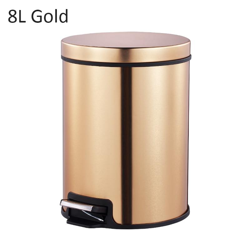 MR. BIN Макарон плюс мусорный бак с 5L/8L/12L ёмкость красочные педаль отходов Bin металлическая мусорная корзина для дома и кухня - Цвет: 8L Gold